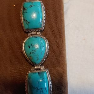 Authentic Turquoise and Sterling Link Bracelet